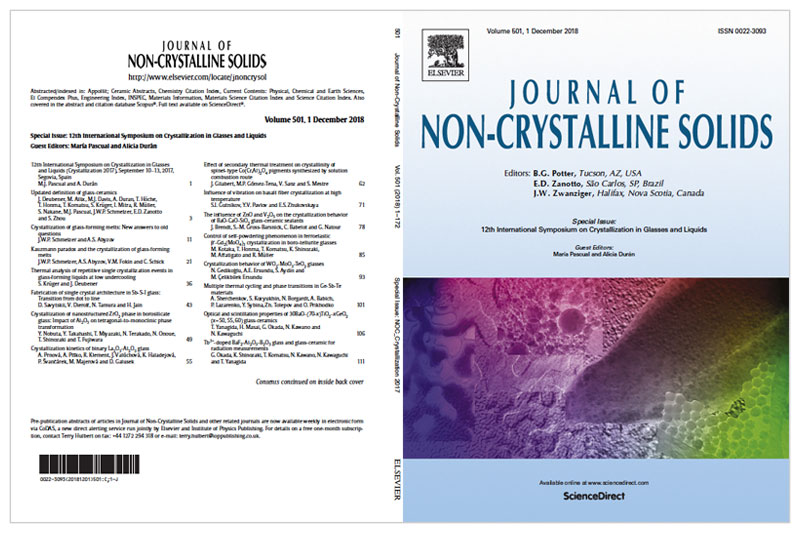 """Special issue in Journal of Non-Crystalline Solids """"12th International Symposium on Crystallization in Glasses and Liquids (Crystallization 2017)"""""""